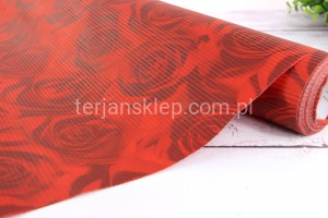 Papier karbowany 50 cm x 10m (red roses)