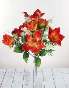 Bukiet magnolie + peonie X185 (red orange)